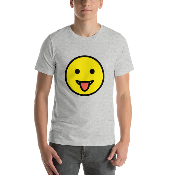 Emoji T-Shirt Store | Face With Tongue emoji t-shirt in Light gray