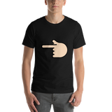Emoji T-Shirt Store | Backhand Index Pointing Left, Light Skin Tone emoji t-shirt in Black