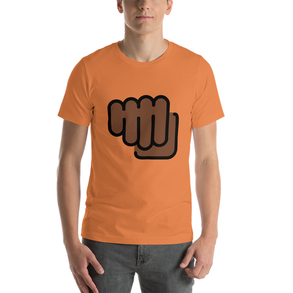 Emoji T-Shirt Store | Oncoming Fist, Dark Skin Tone emoji t-shirt in Orange