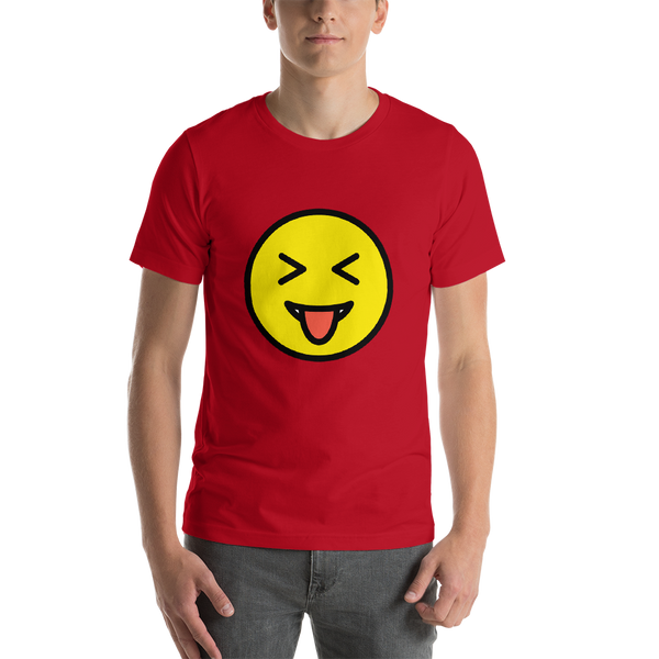 Emoji T-Shirt Store | Squinting Face With Tongue emoji t-shirt in Red