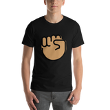 Emoji T-Shirt Store | Raised Fist, Medium Skin Tone emoji t-shirt in Black