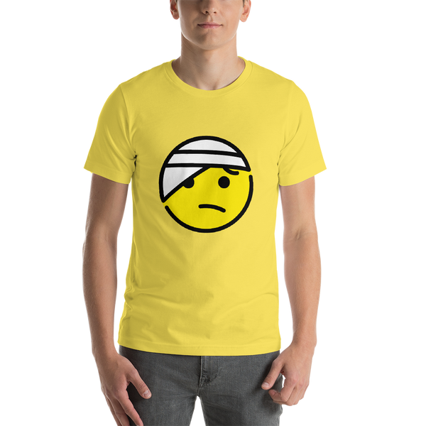 Emoji T-Shirt Store | Face With Head-Bandage emoji t-shirt in Yellow