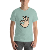 Emoji T-Shirt Store | Pinching Hand, Light Skin Tone emoji t-shirt in Green