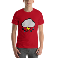 Emoji T-Shirt Store | Cloud With Lightning And Rain emoji t-shirt in Red