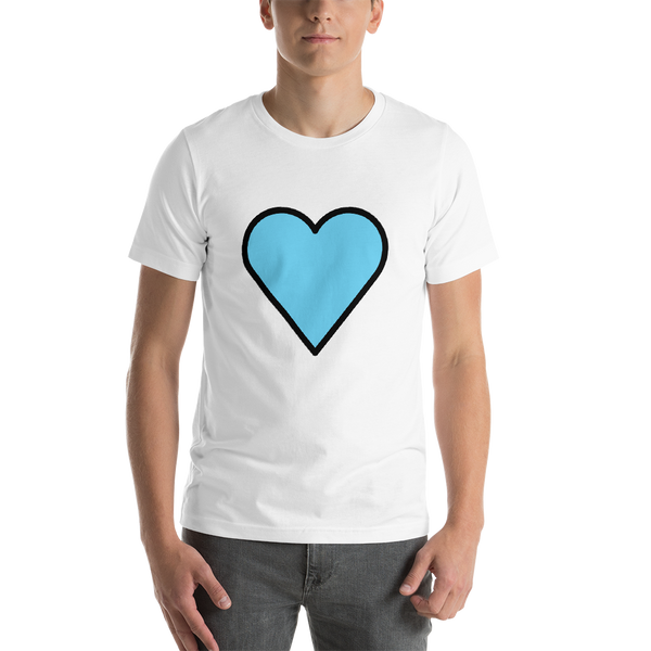 Emoji T-Shirt Store | Blue Heart emoji t-shirt in White