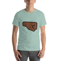 Emoji T-Shirt Store | Right Facing Fist, Dark Skin Tone emoji t-shirt in Green