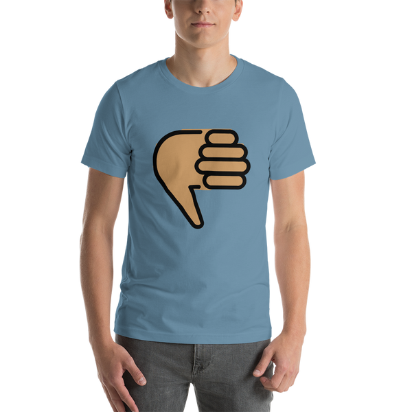 Emoji T-Shirt Store | Thumbs Down, Medium Skin Tone emoji t-shirt in Blue