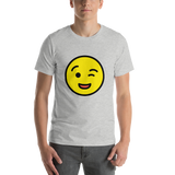 Emoji T-Shirt Store | Winking Face emoji t-shirt in Light gray
