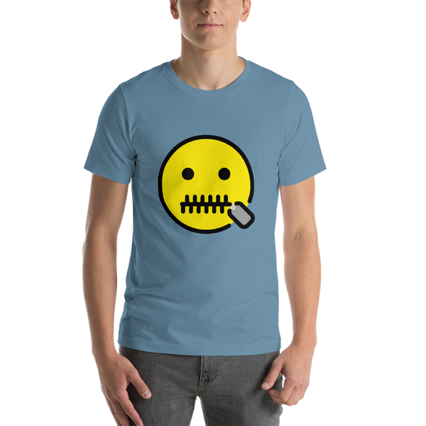 Emoji T-Shirt Store | Zipper-Mouth Face emoji t-shirt in Blue