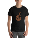 Emoji T-Shirt Store | Crossed Fingers, Dark Skin Tone emoji t-shirt in Black