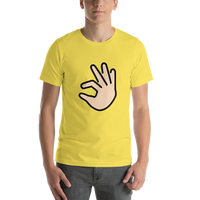 Emoji T-Shirt Store | Pinching Hand, Light Skin Tone emoji t-shirt in Yellow