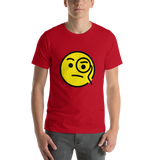 Emoji T-Shirt Store | Face With Monocle emoji t-shirt in Red