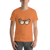 Emoji T-Shirt Store | Open Hands, Light Skin Tone emoji t-shirt in Orange