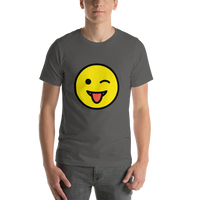 Emoji T-Shirt Store | Winking Face With Tongue emoji t-shirt in Dark gray