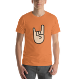 Emoji T-Shirt Store | Sign Of The Horns, Light Skin Tone emoji t-shirt in Orange