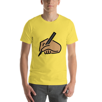 Emoji T-Shirt Store | Writing Hand, Medium Skin Tone emoji t-shirt in Yellow
