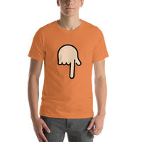 Emoji T-Shirt Store | Backhand Index Pointing Down, Light Skin Tone emoji t-shirt in Orange