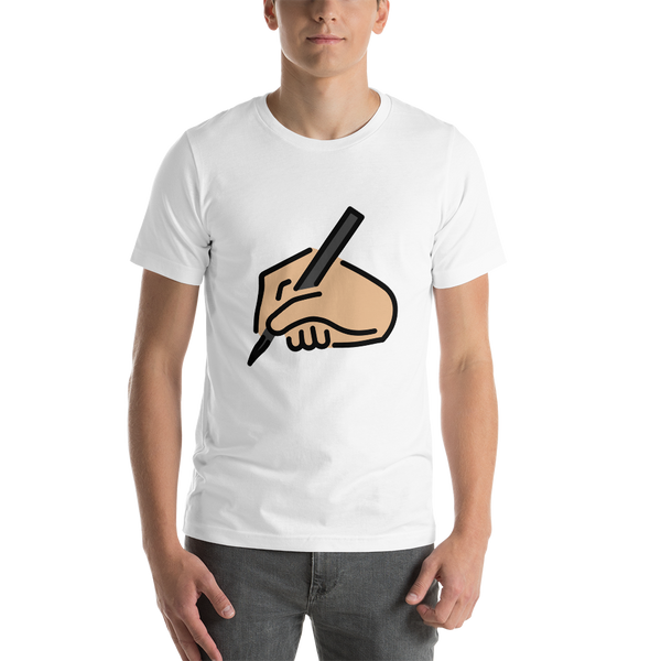 Emoji T-Shirt Store | Writing Hand, Medium Light Skin Tone emoji t-shirt in White