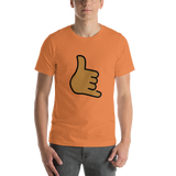 Emoji T-Shirt Store | Call Me Hand, Medium Dark Skin Tone emoji t-shirt in Orange