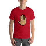 Emoji T-Shirt Store | Raised Back Of Hand, Medium Skin Tone emoji t-shirt in Red