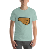 Emoji T-Shirt Store | Right Facing Fist, Medium Dark Skin Tone emoji t-shirt in Green