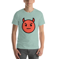 Emoji T-Shirt Store | Smiling Face With Horns emoji t-shirt in Green