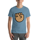 Emoji T-Shirt Store | Raised Fist, Medium Skin Tone emoji t-shirt in Blue