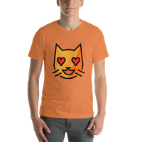 Emoji T-Shirt Store | Smiling Cat With Heart-Eyes emoji t-shirt in Orange