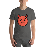 Emoji T-Shirt Store | Smiling Face With Horns emoji t-shirt in Dark gray
