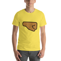 Emoji T-Shirt Store | Right Facing Fist, Medium Dark Skin Tone emoji t-shirt in Yellow