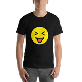 Emoji T-Shirt Store | Squinting Face With Tongue emoji t-shirt in Black