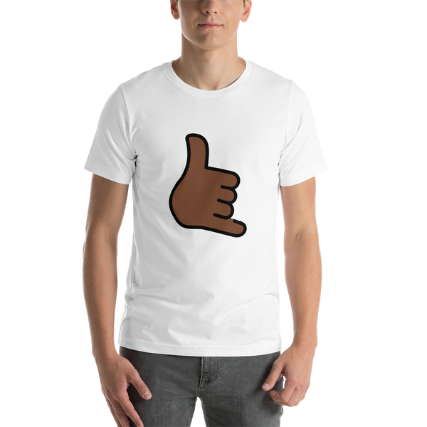 Emoji T-Shirt Store | Call Me Hand, Dark Skin Tone emoji t-shirt in White