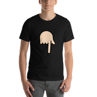 Emoji T-Shirt Store | Backhand Index Pointing Down, Light Skin Tone emoji t-shirt in Black