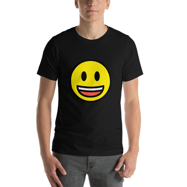 Emoji T-Shirt Store | Grinning Face With Big Eyes emoji t-shirt in Black