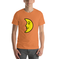 Emoji T-Shirt Store | First Quarter Moon Face emoji t-shirt in Orange