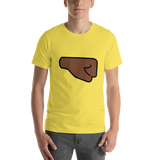 Emoji T-Shirt Store | Right Facing Fist, Dark Skin Tone emoji t-shirt in Yellow