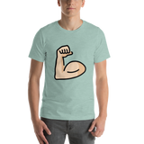 Emoji T-Shirt Store | Flexed Biceps, Light Skin Tone emoji t-shirt in Green
