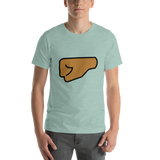 Emoji T-Shirt Store | Left Facing Fist, Medium Dark Skin Tone emoji t-shirt in Green