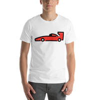 Emoji T-Shirt Store | Racing Car emoji t-shirt in White