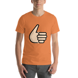 Emoji T-Shirt Store | Thumbs Up, Light Skin Tone emoji t-shirt in Orange