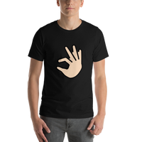 Emoji T-Shirt Store | Pinching Hand, Light Skin Tone emoji t-shirt in Black