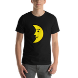Emoji T-Shirt Store | First Quarter Moon Face emoji t-shirt in Black