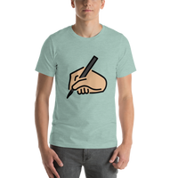 Emoji T-Shirt Store | Writing Hand, Medium Light Skin Tone emoji t-shirt in Green