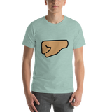 Emoji T-Shirt Store | Left Facing Fist, Medium Skin Tone emoji t-shirt in Green