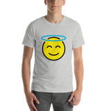 Emoji T-Shirt Store | Smiling Face With Halo emoji t-shirt in Light gray