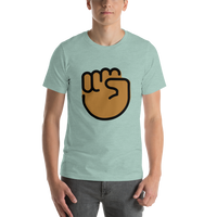 Emoji T-Shirt Store | Raised Fist, Medium Dark Skin Tone emoji t-shirt in Green