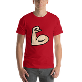Emoji T-Shirt Store | Flexed Biceps, Light Skin Tone emoji t-shirt in Red