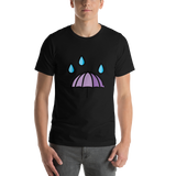 Emoji T-Shirt Store | Umbrella With Rain Drops emoji t-shirt in Black