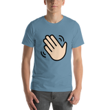 Emoji T-Shirt Store | Waving Hand, Light Skin Tone emoji t-shirt in Blue