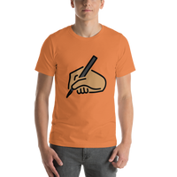 Emoji T-Shirt Store | Writing Hand, Medium Skin Tone emoji t-shirt in Orange